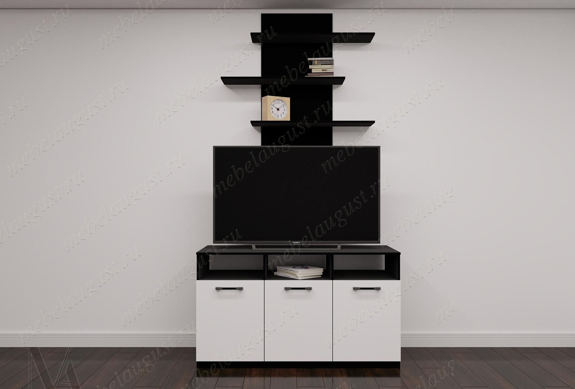 Мини мебельная стенка для спальни с полкой под телевизор цвета черно-белый глянец