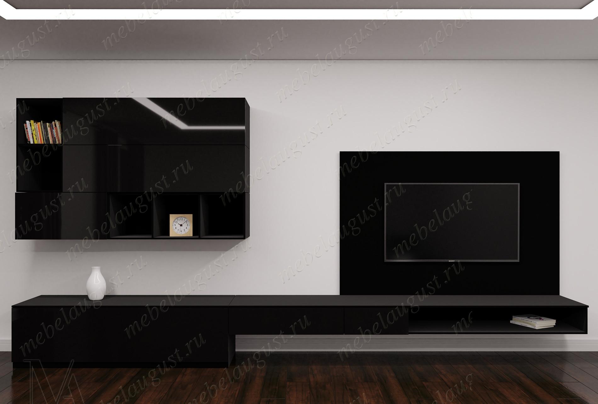Мини стенка с полкой под телевизор в спальню