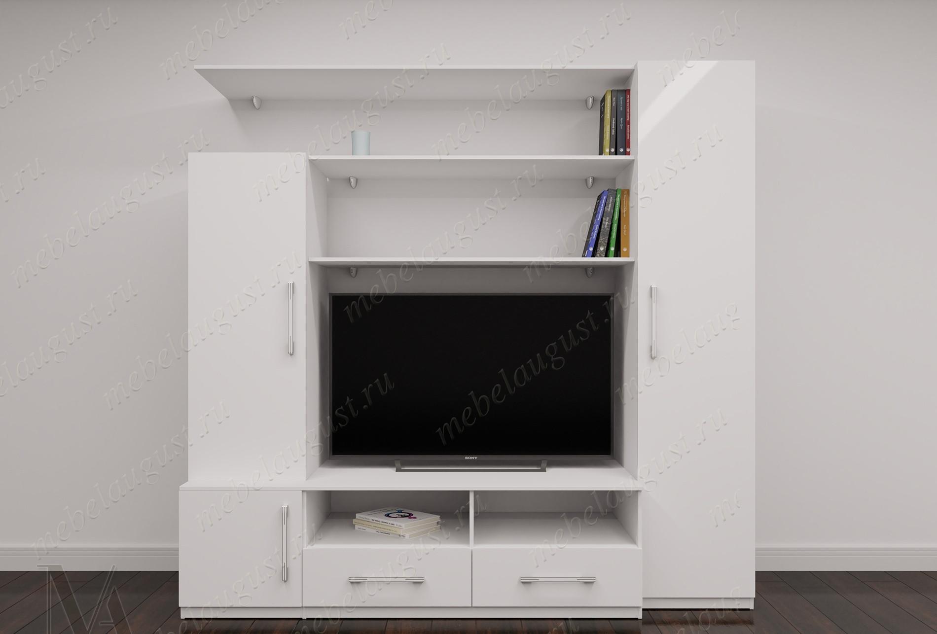 """Стенка """"фиджи-3"""" с полкой для телевизора цвета белый глянец"""