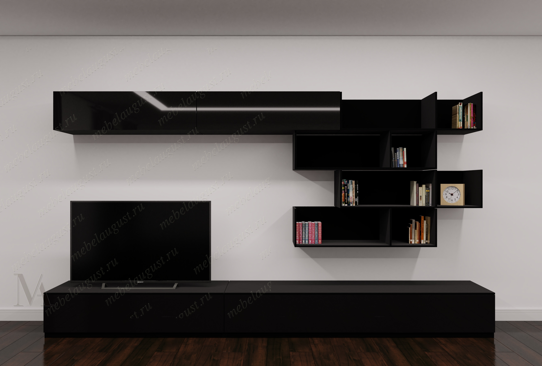 Модульная мини мебельная стенка в спальню цвета черный глянец