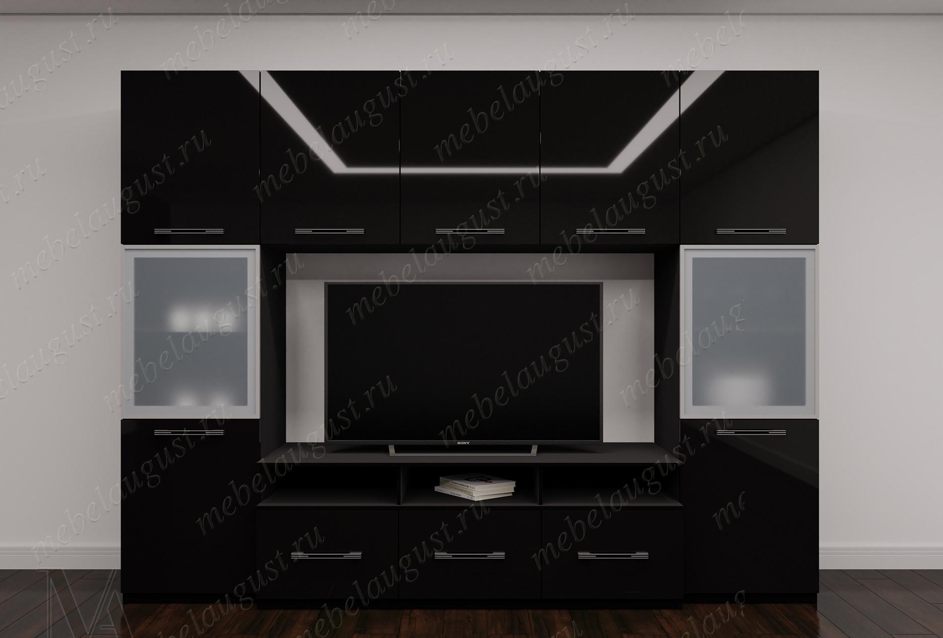 Мебельная стенка под тв в спальню цвета черный глянец