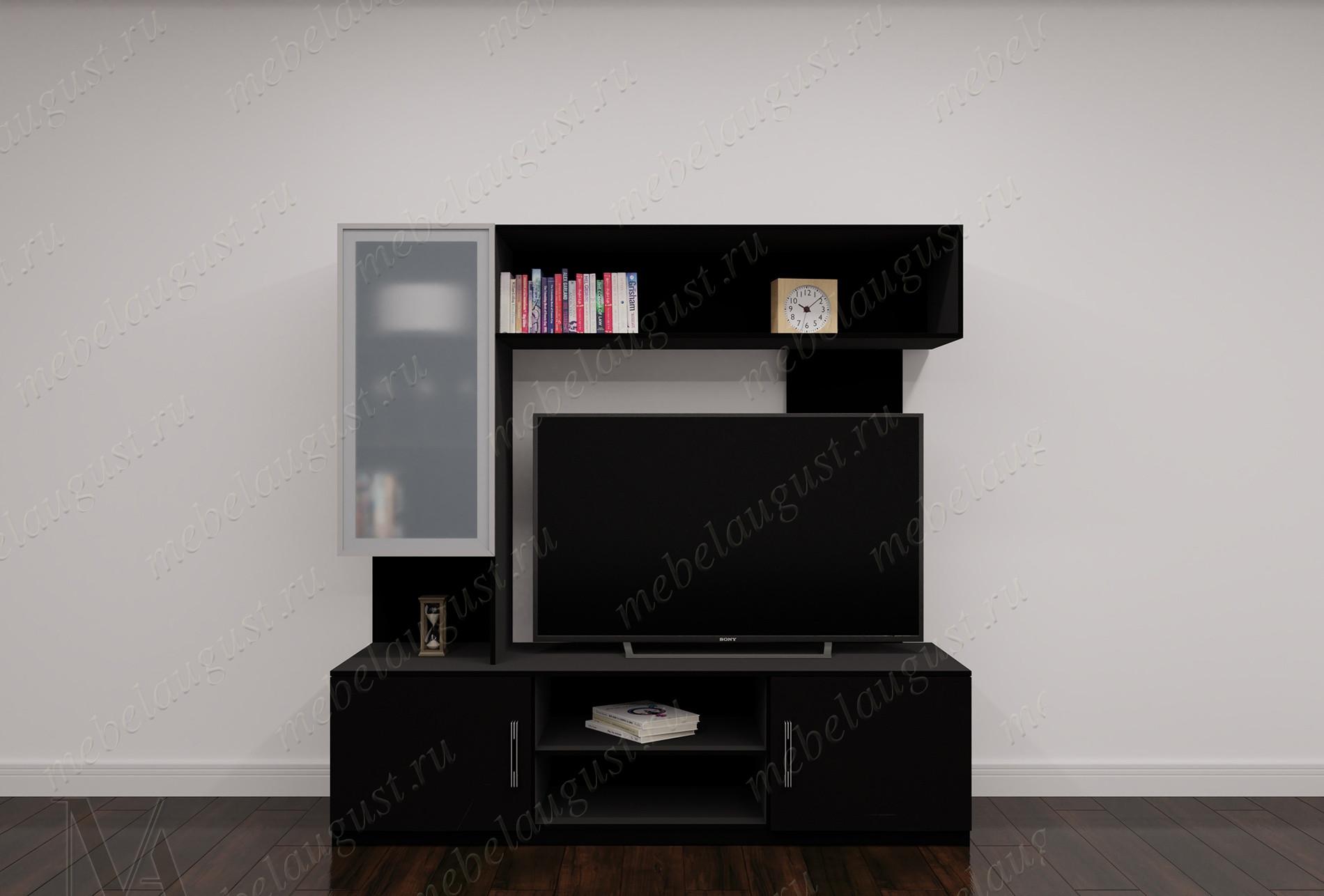 Малогабаритная стенка под телевизор цвета черный глянец