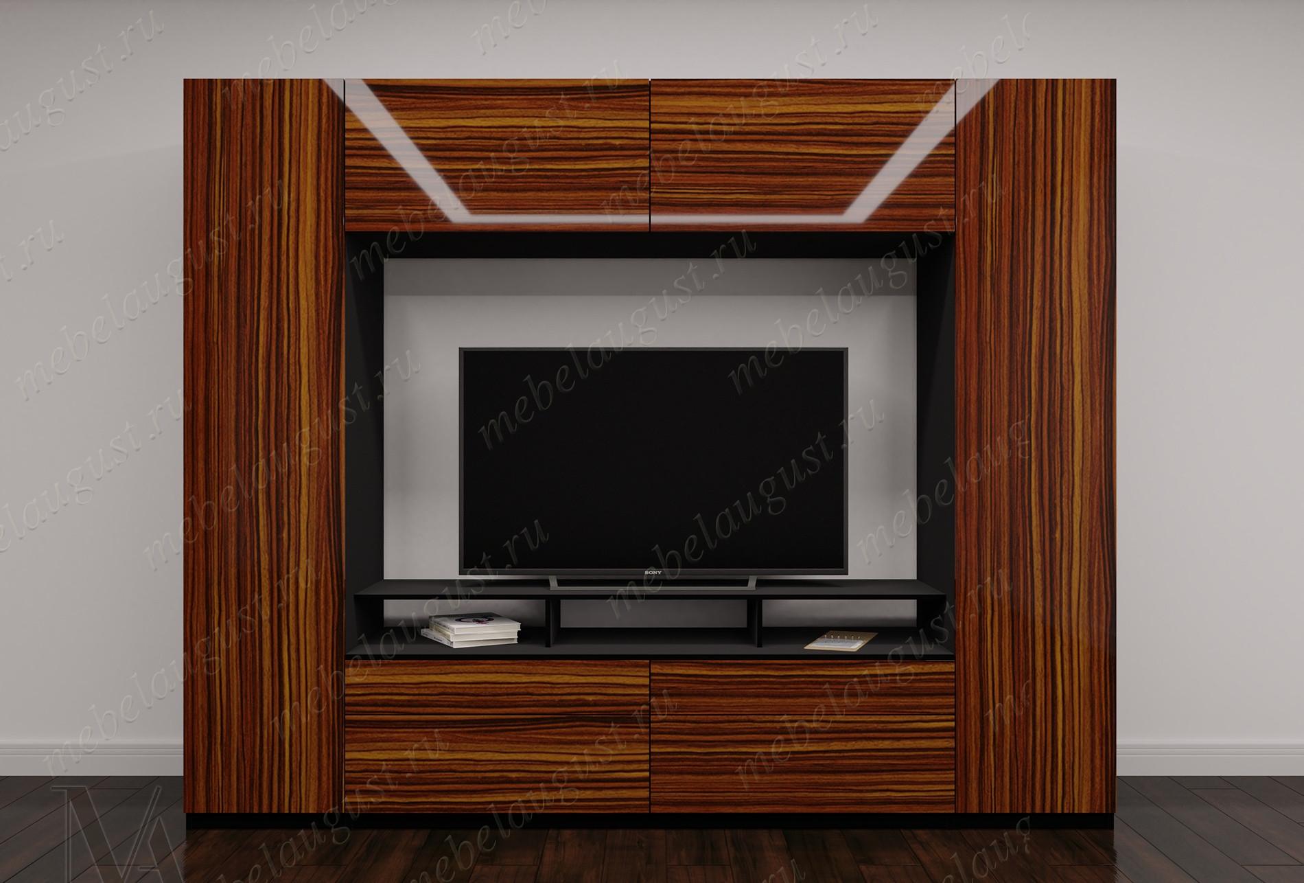 Мебельная стенка с полкой под тв в спальню цвета макасар