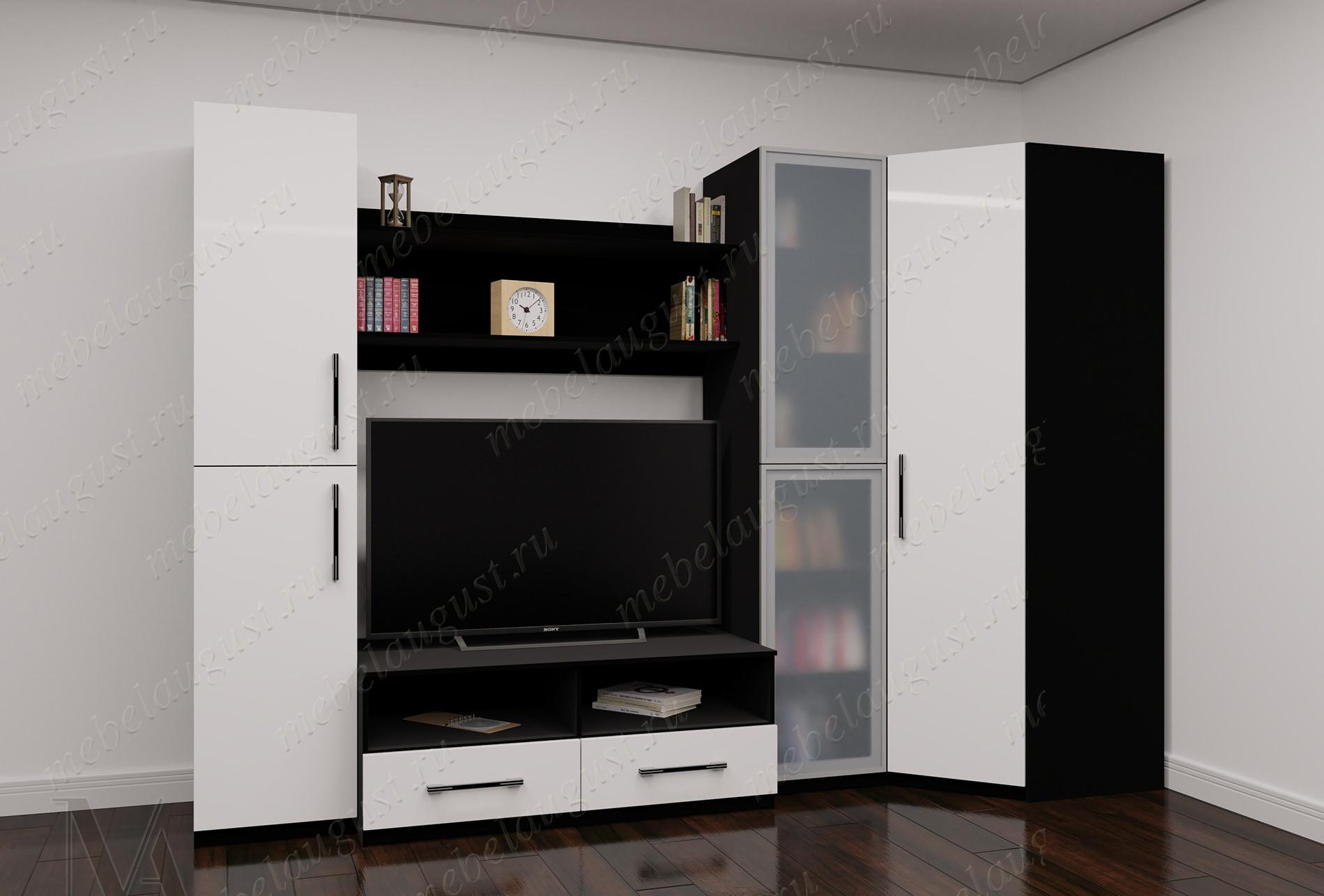 Черно-белая глянцевая стенка в гостиную под телевизор
