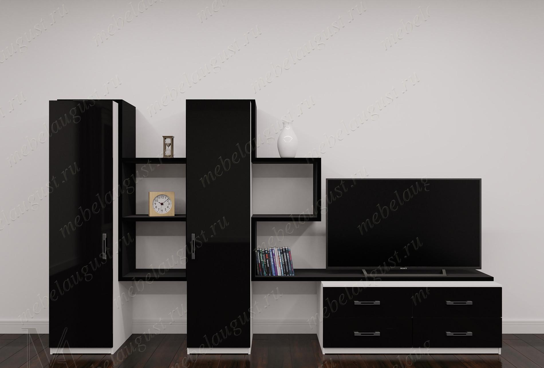 Маленькая стенка в гостиную под телевизор для спальни цвета черно-белый глянец