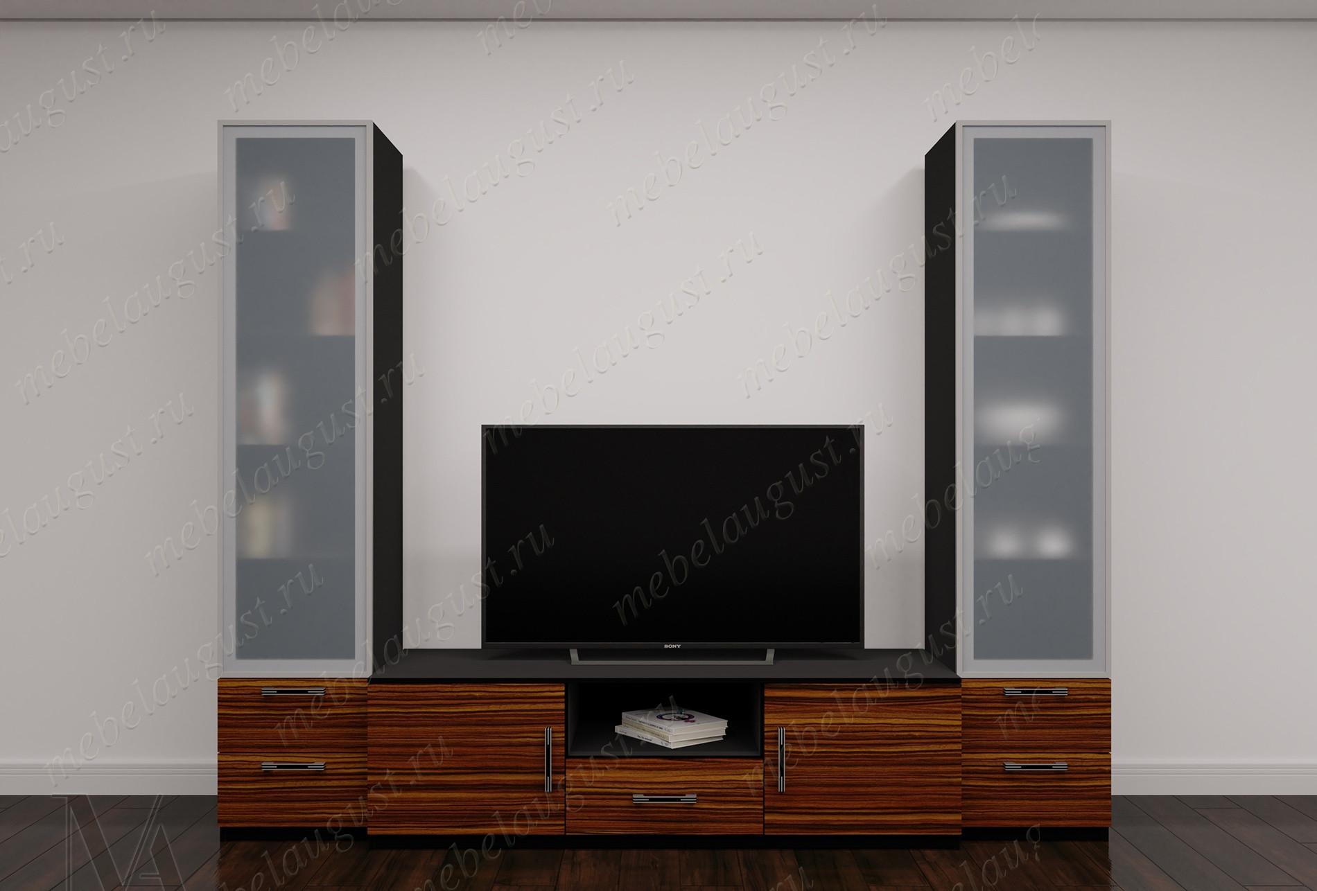 Глянцевая мини стенка в гостиную с полкой для телевизора
