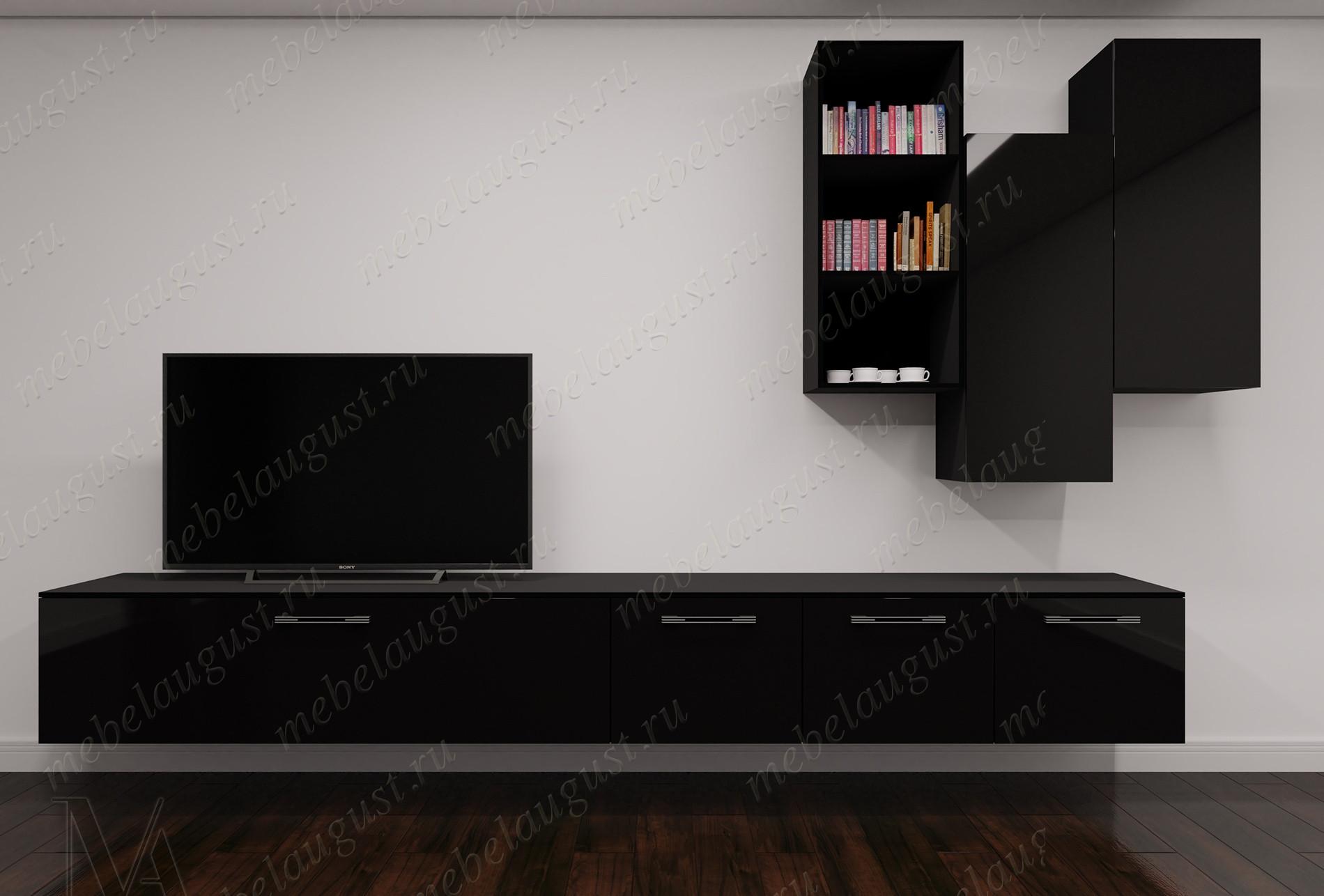 Черная глянцевая мебельная стенка под телевизор в спальню