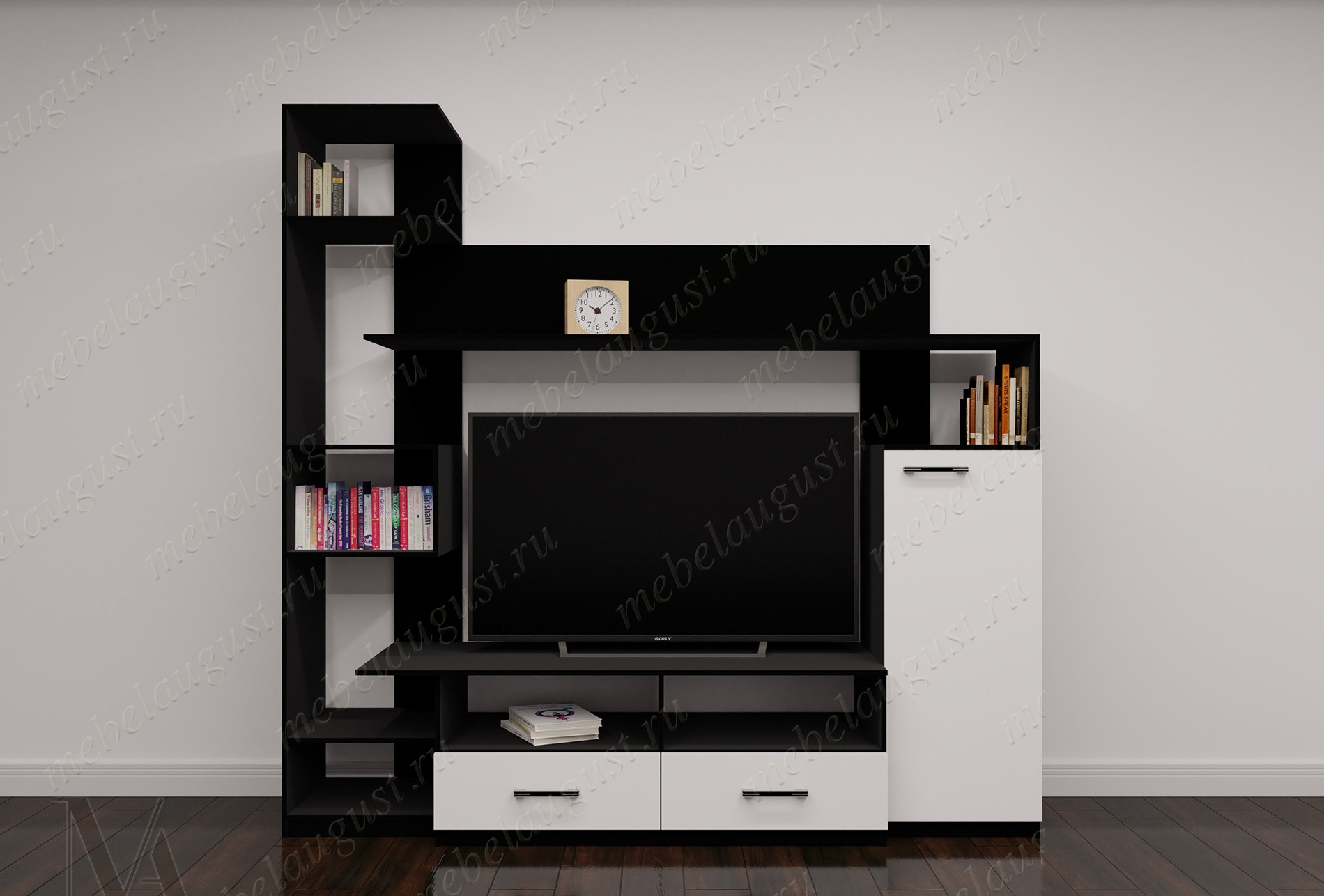 Малогабаритная мебельная стенка для спальни с полкой под телевизор