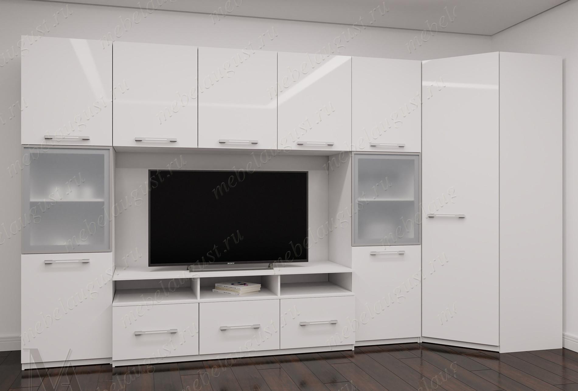 Белая глянцевая стенка в гостиную под тв