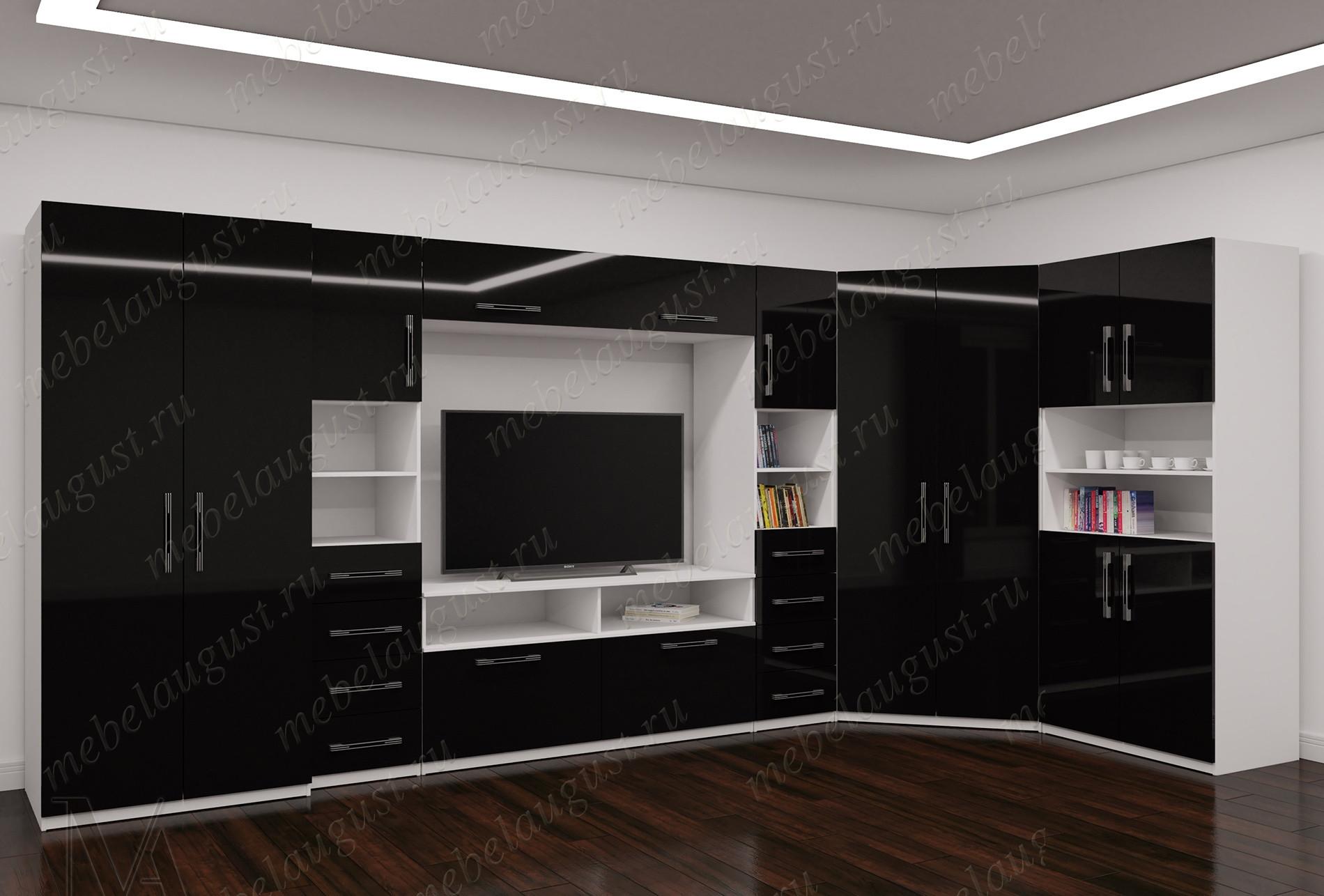 Черно-белая глянцевая широкая мебельная стенка с полкой для телевизора