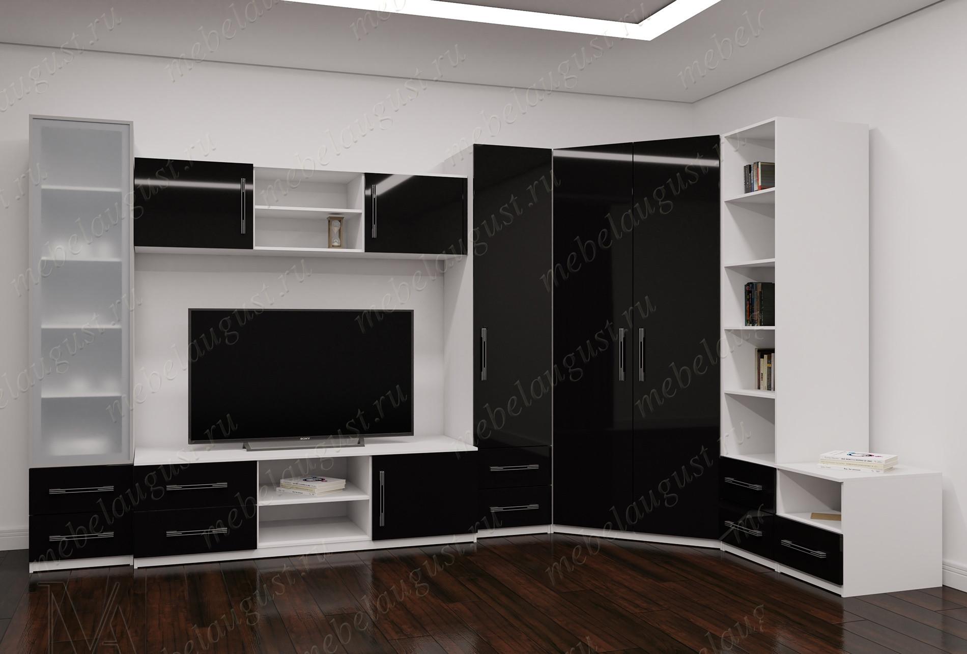 Черно-белая глянцевая большая мебельная стенка с полкой под телевизор