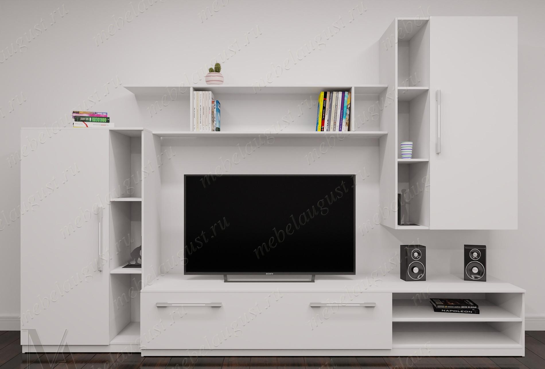 Белая глянцевая стенка с полкой для телевизора