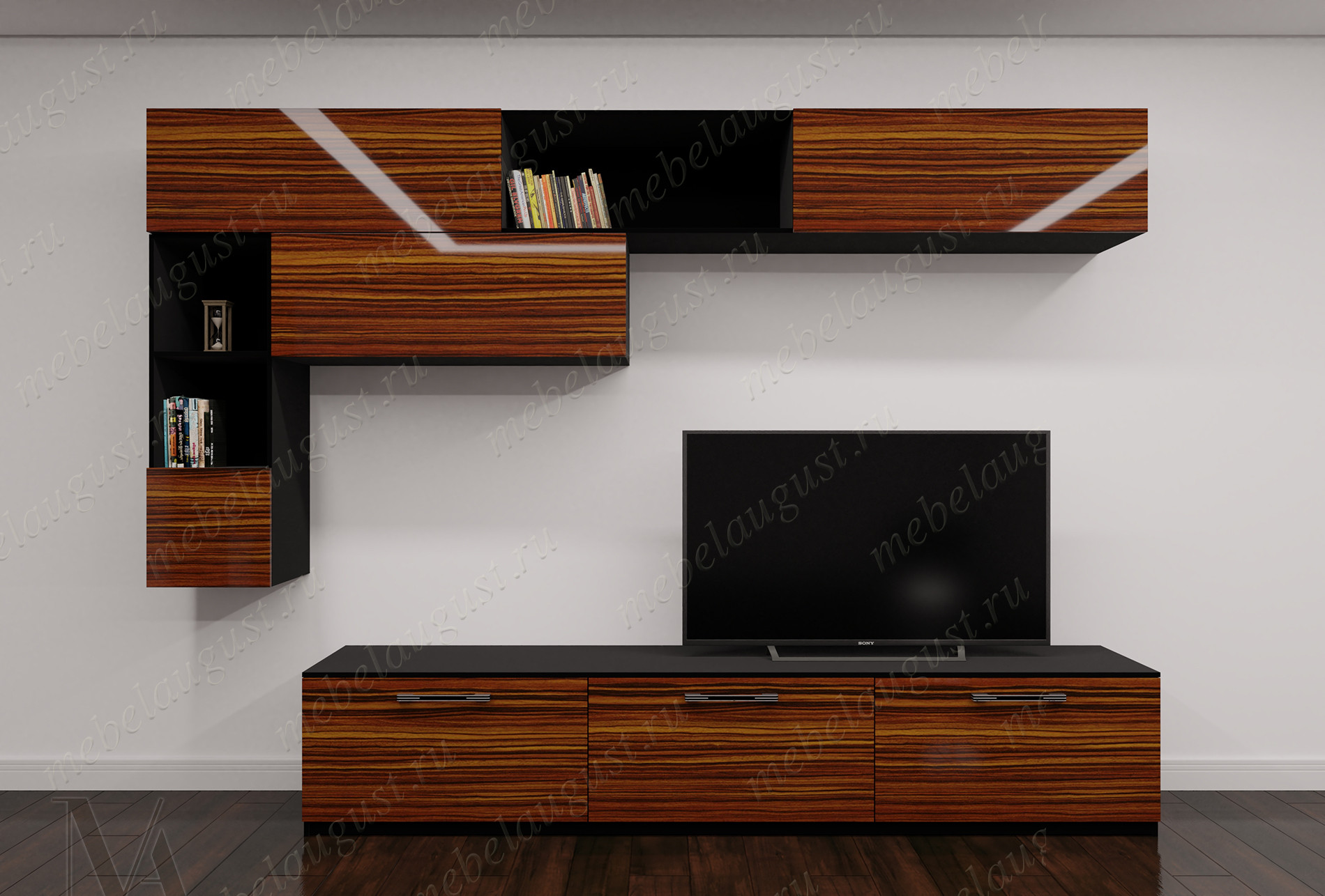 Глянцевая малогабаритная модульная мебельная стенка в спальню