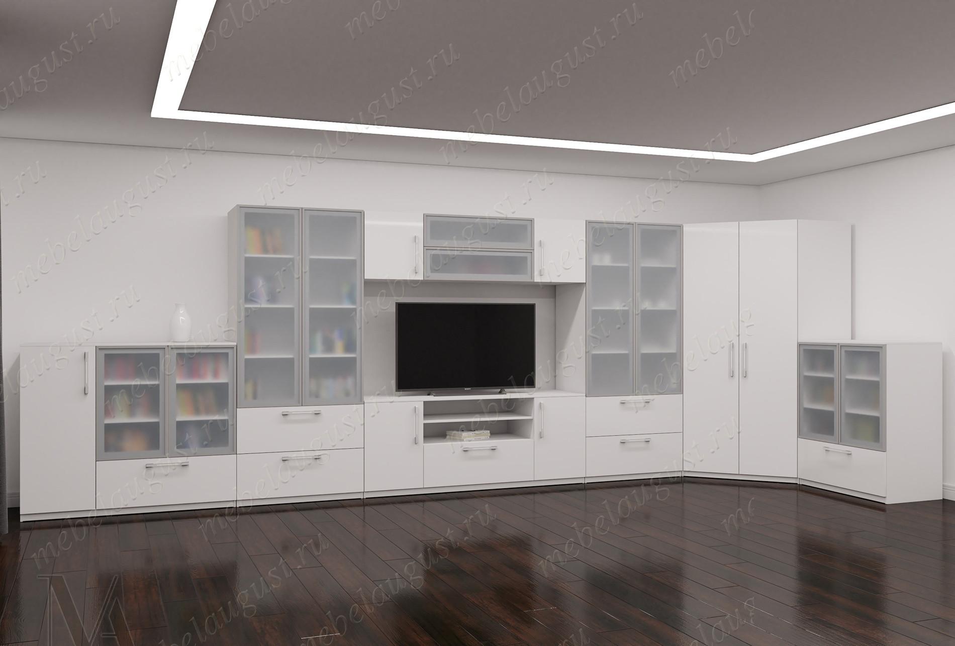 Белая глянцевая широкая мебельная стенка с полкой для телевизора