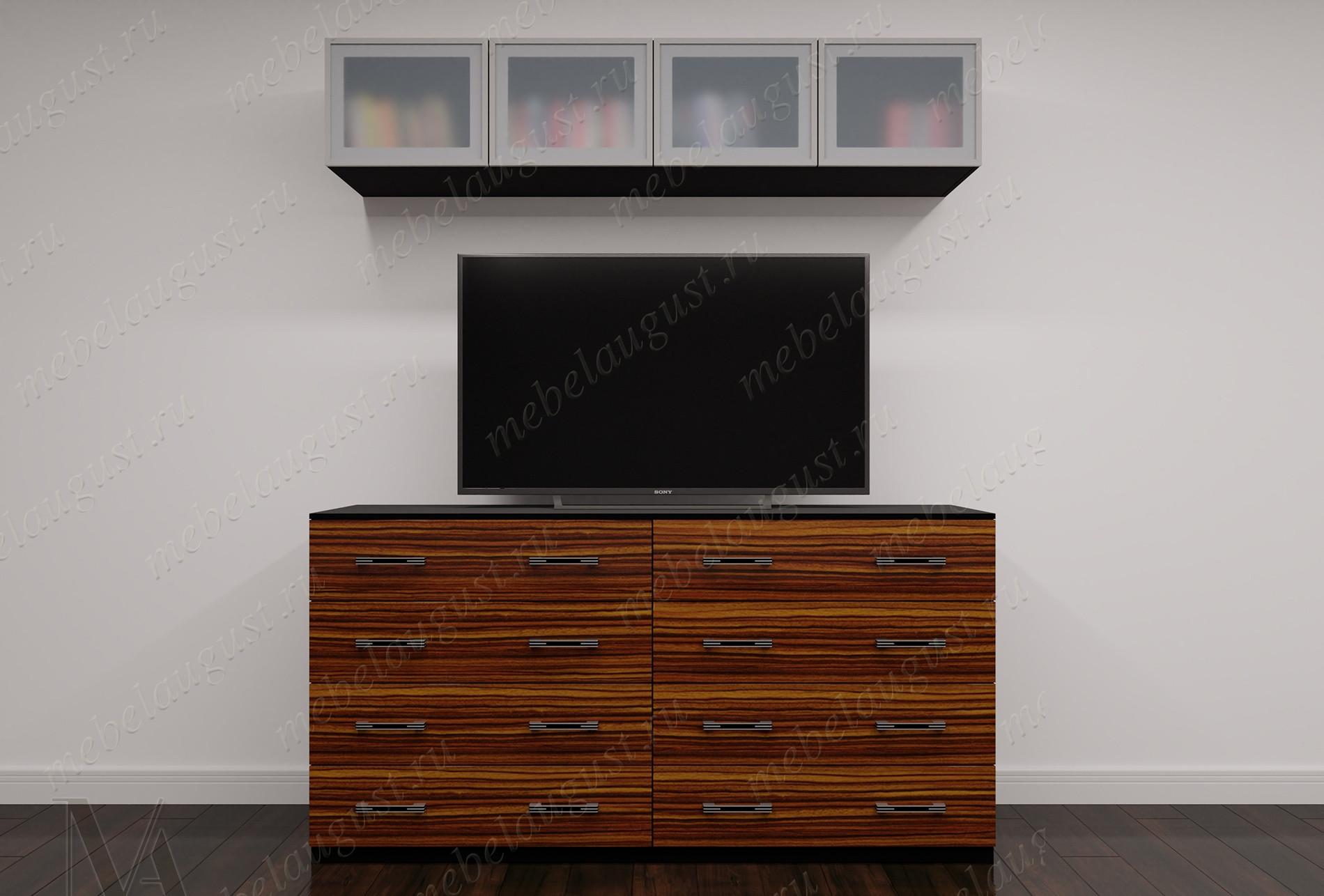 Маленькая мебельная стенка с полкой под тв в спальню
