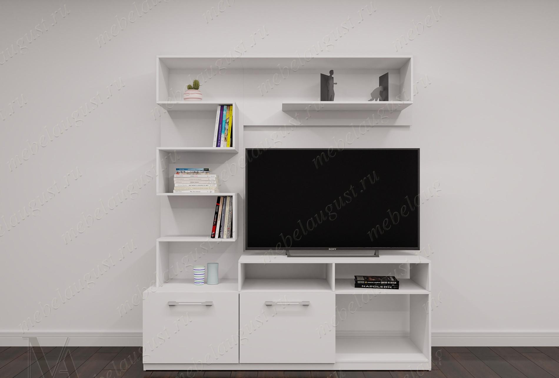 Белая глянцевая мини стенка в гостиную с полкой под телевизор
