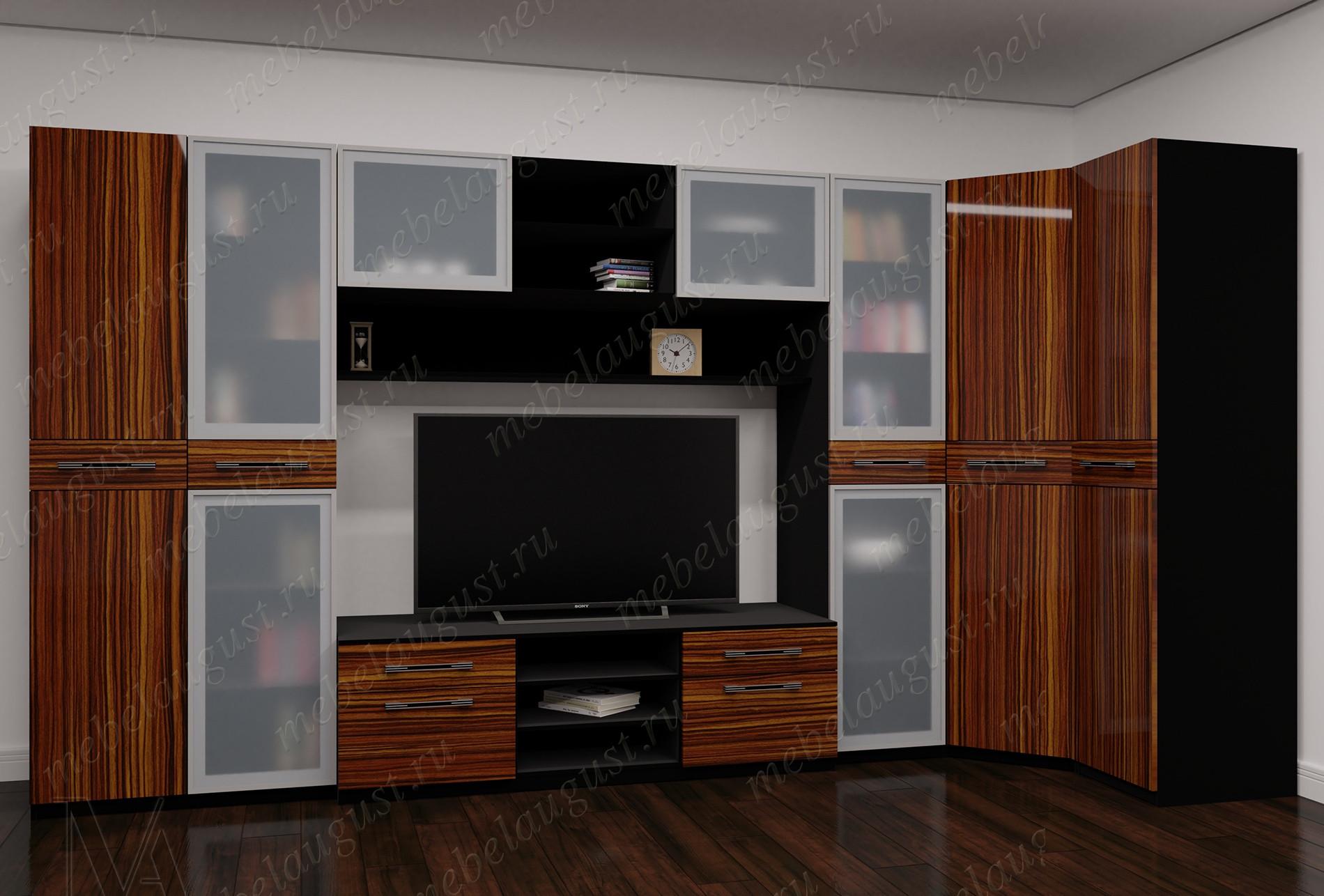 Широкая стенка с полкой для телевизора цвета макасар