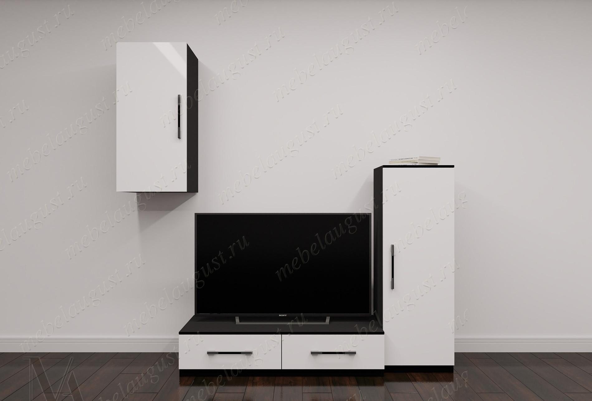 Мини стенка в гостиную с полкой для телевизора в спальню цвета черно-белый глянец