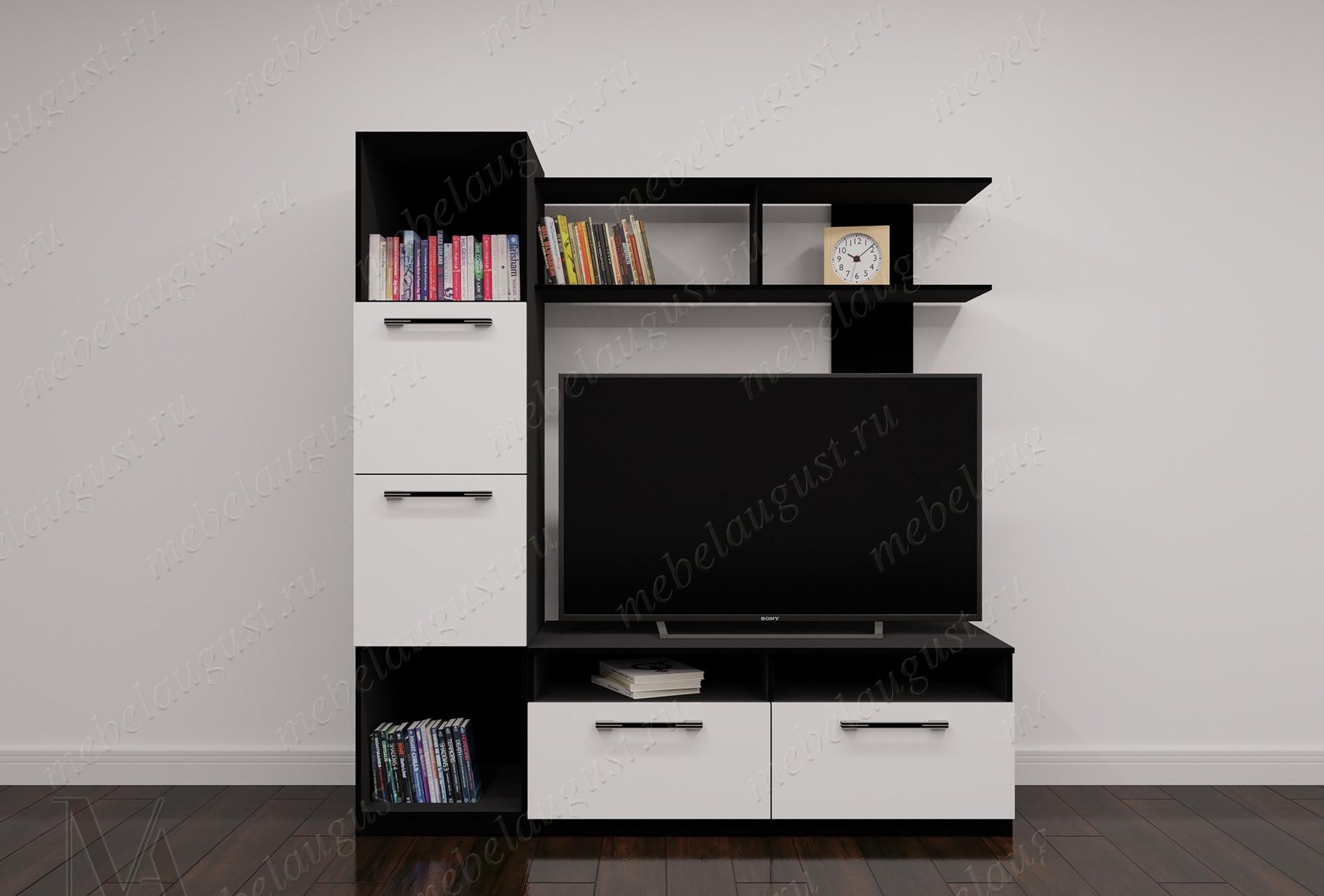 Черно-белая глянцевая мини мебельная стенка с полкой для телевизора