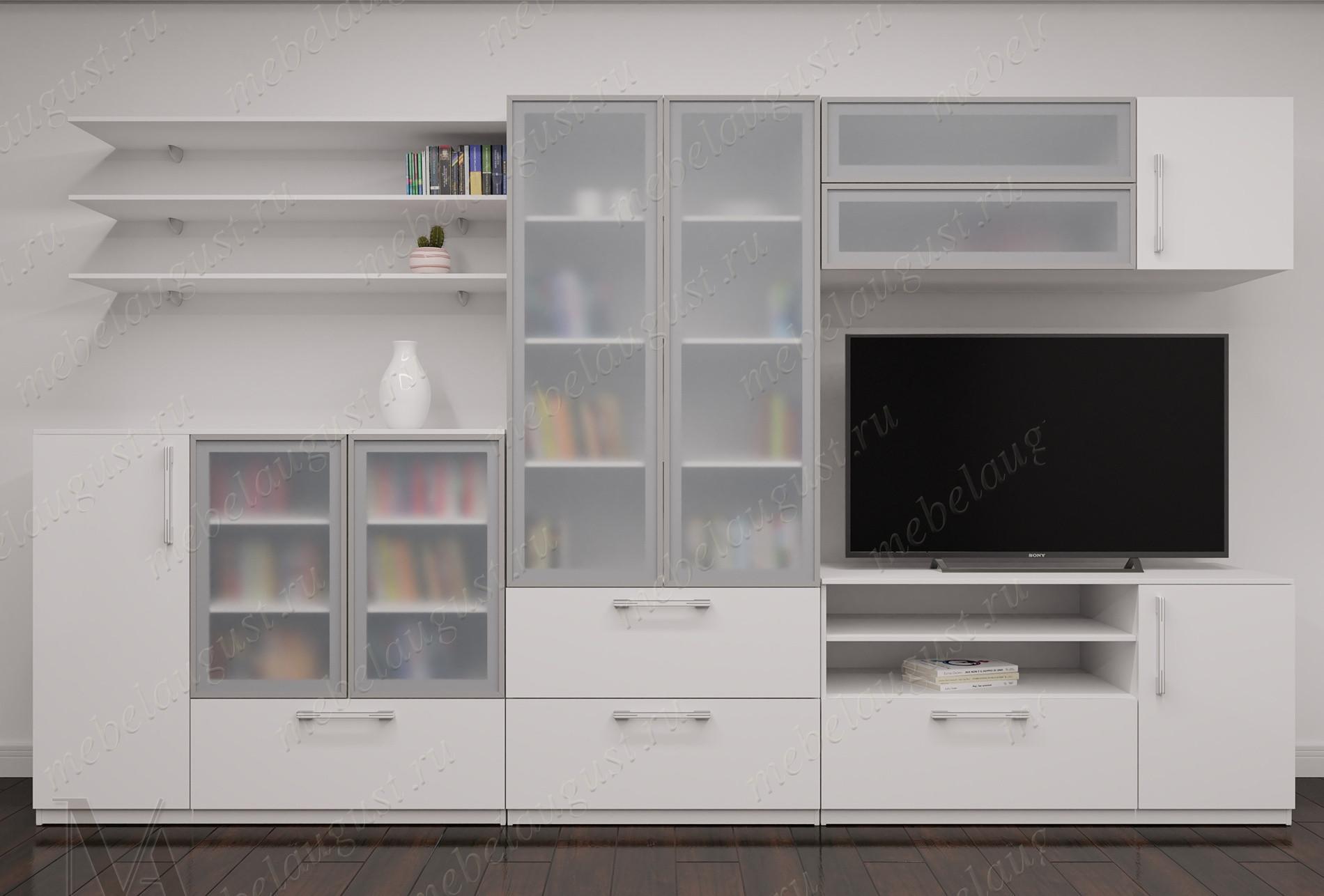 Мебельная стенка с полкой для телевизора цвета белый глянец