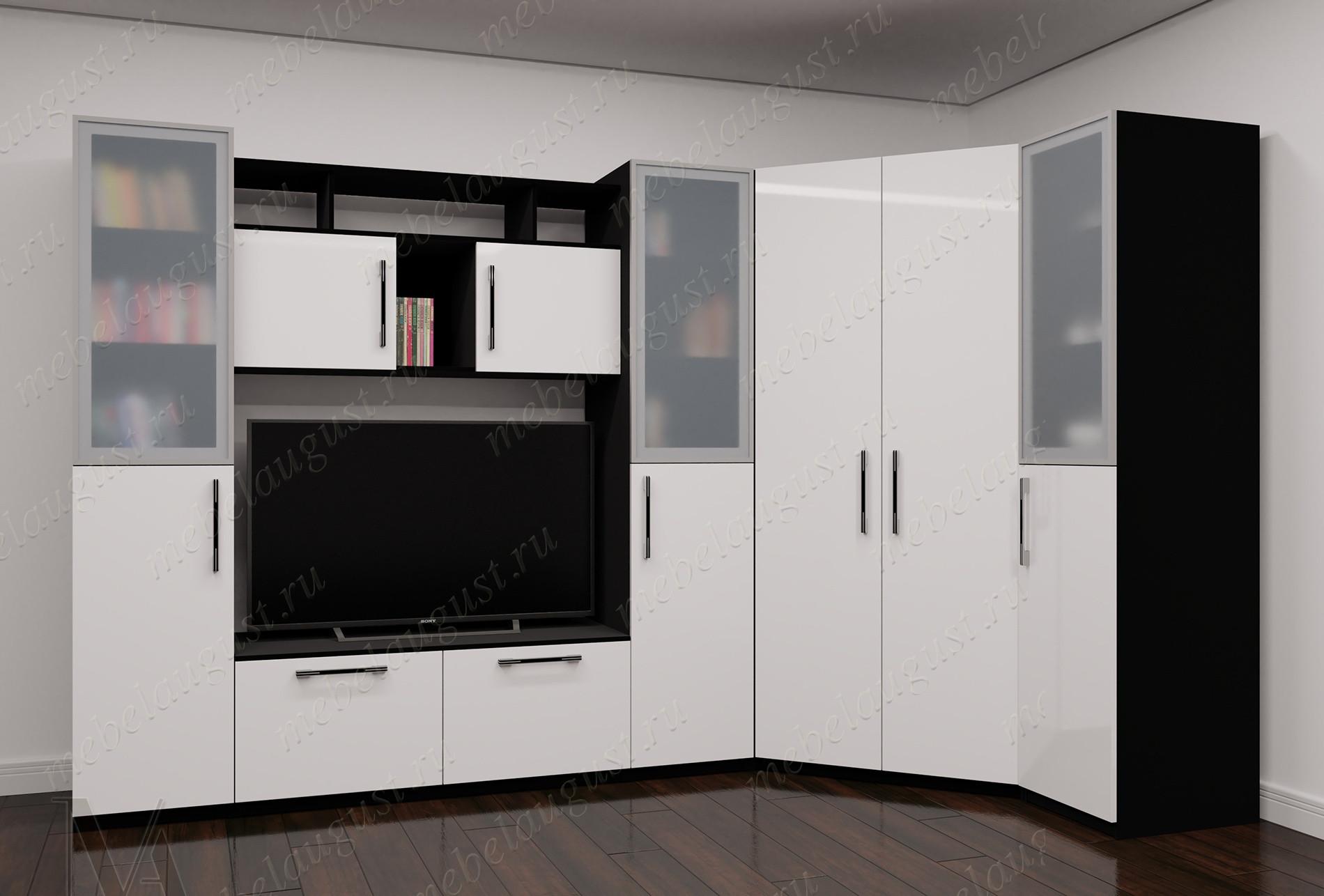 Большая стенка в гостиную под телевизор цвета черно-белый глянец