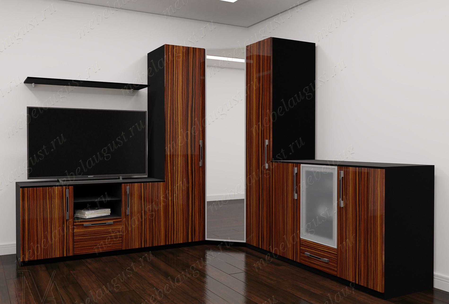 Мебельная стенка для спальни с полкой под телевизор цвета макасар