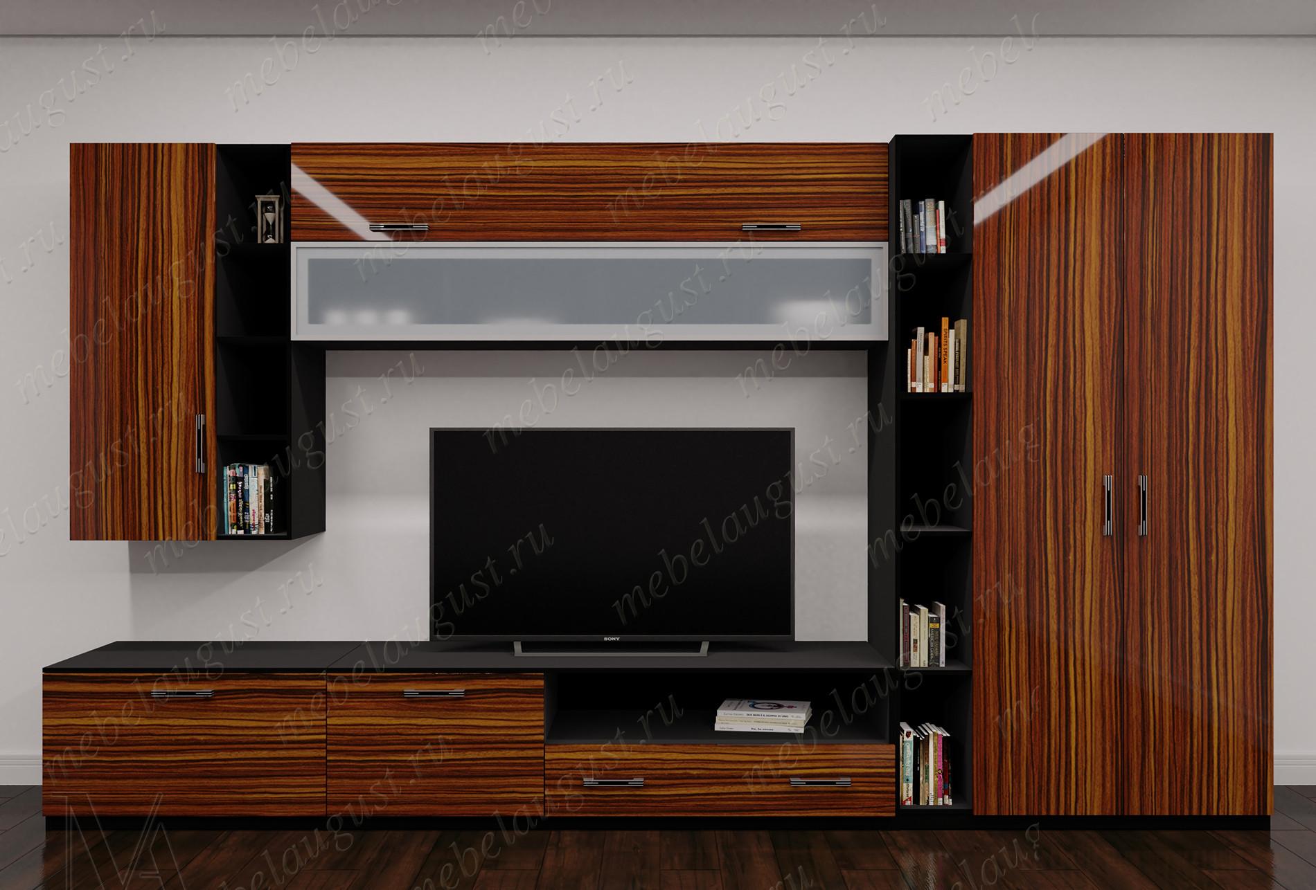 Широкая модульная мебельная стенка в спальню