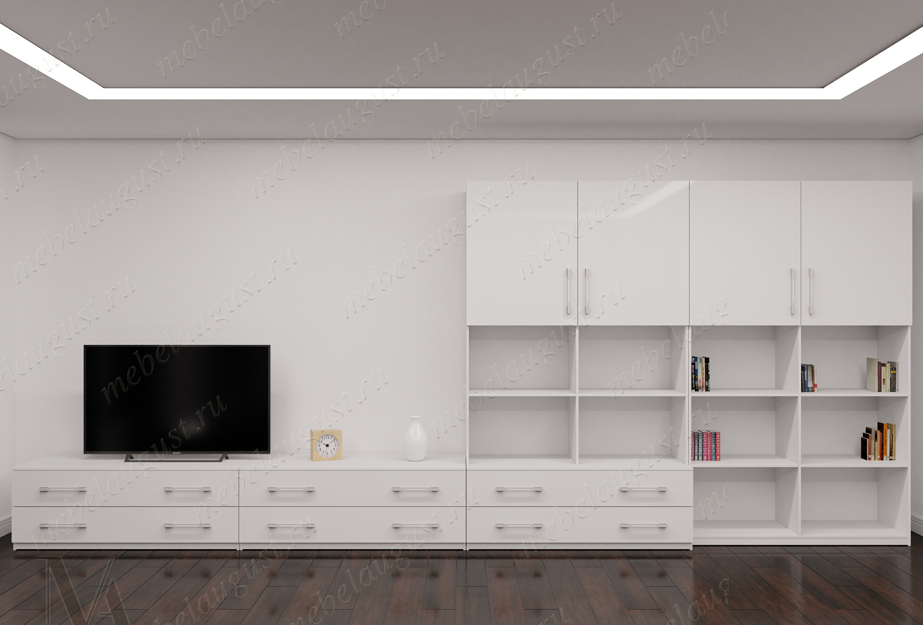 Большая стенка в гостиную с полкой для телевизора цвета черно-белый глянец