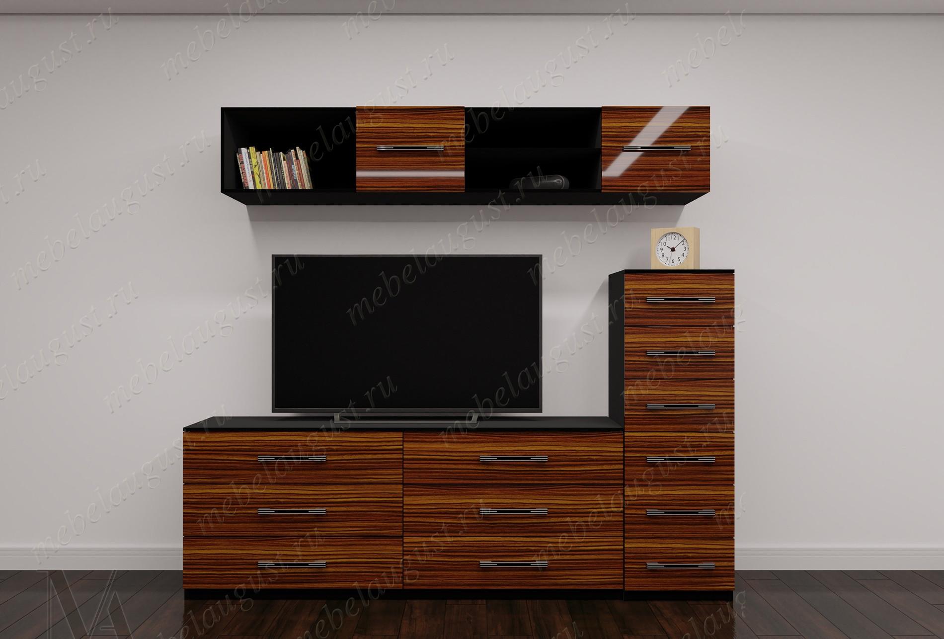Глянцевая мини мебельная стенка для спальни с полкой под тв