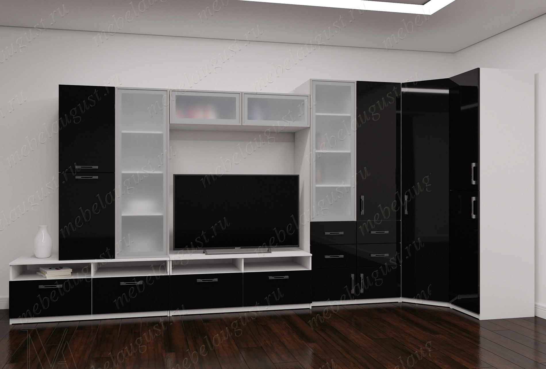Стенка в гостиную под тв цвета черно-белый глянец