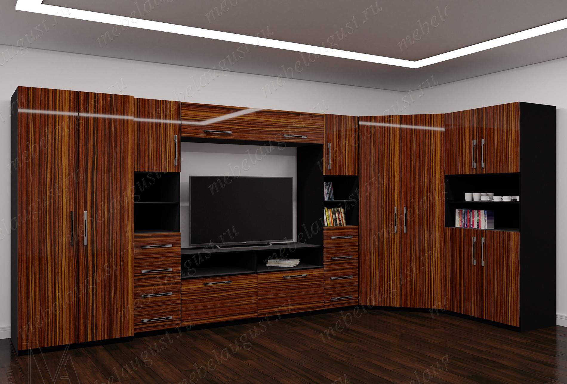 Большая мебельная стенка с полкой под телевизор
