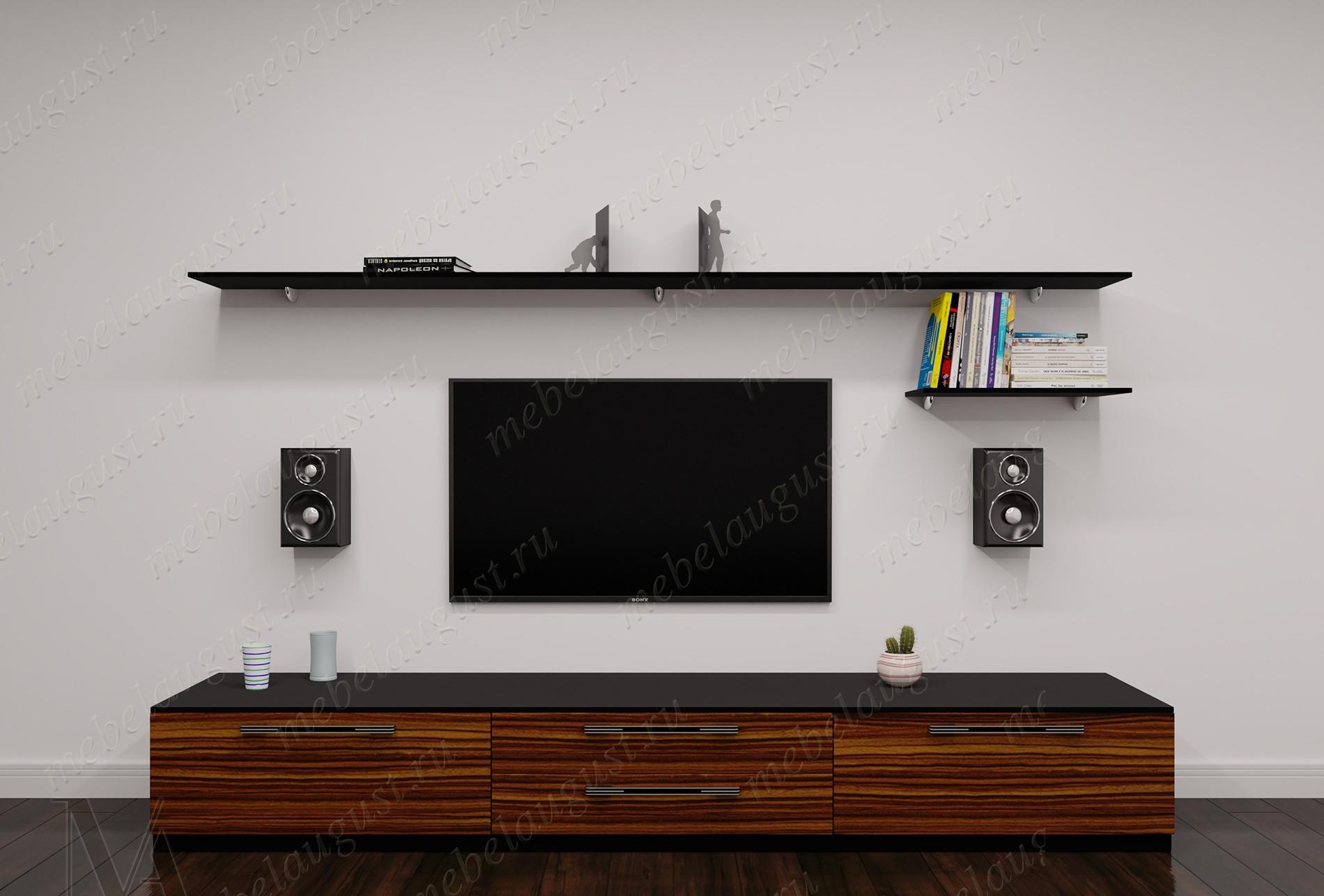 Малогабаритная мебельная стенка под телевизор для спальни цвета макасар