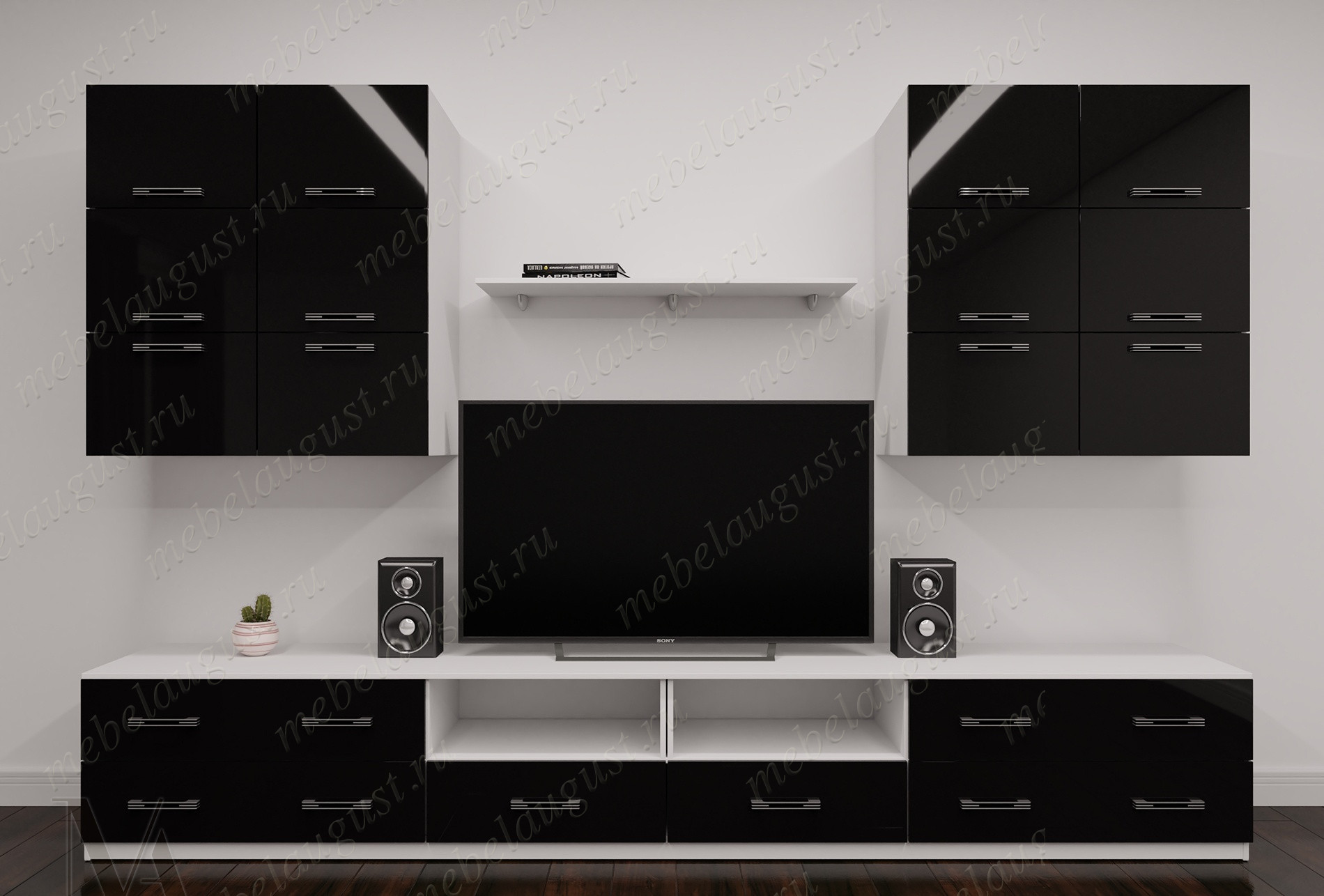 Черно-белая глянцевая маленькая мебельная стенка с полкой под тв в спальню