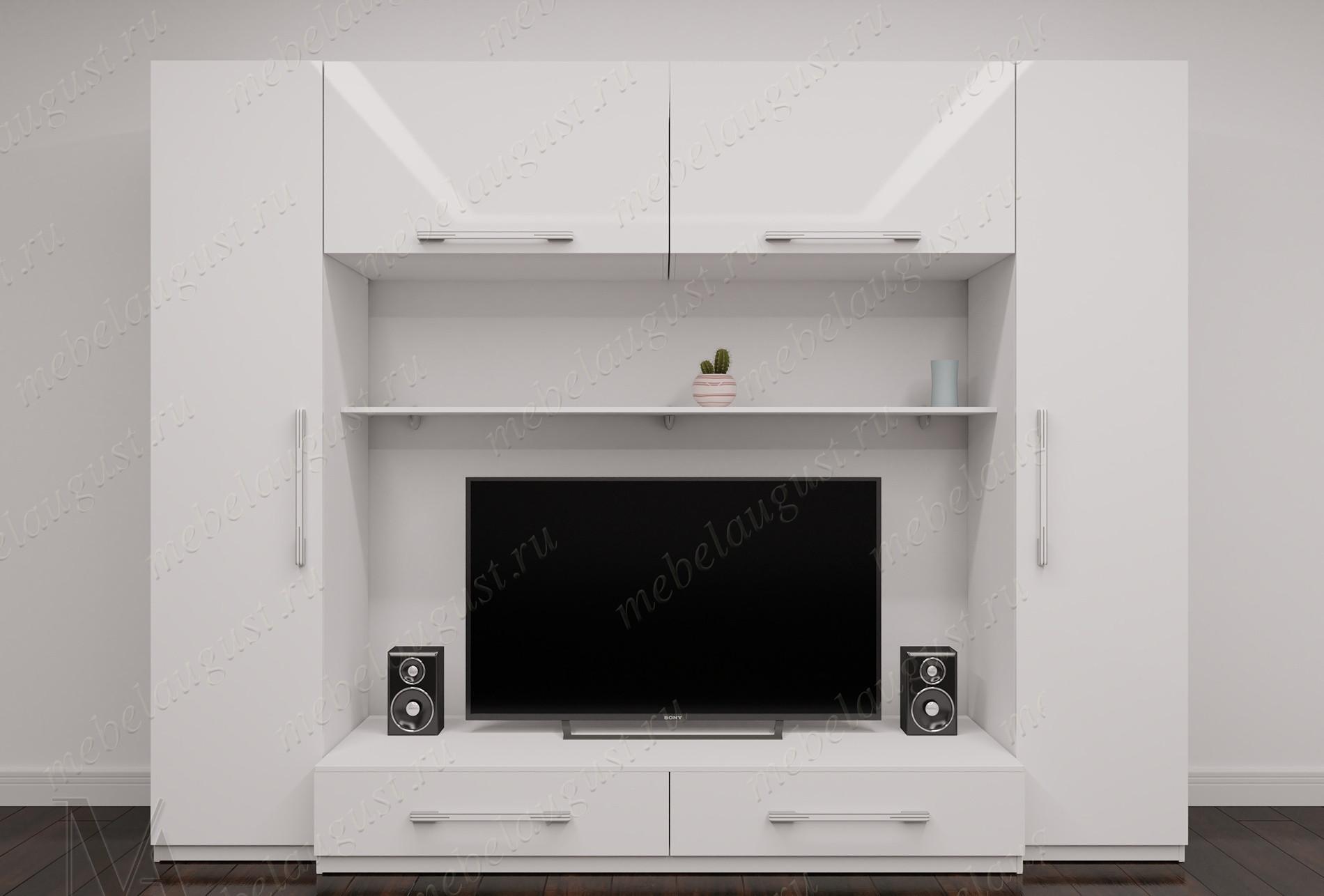 Мебельная стенка для спальни с полкой под тв цвета белый глянец