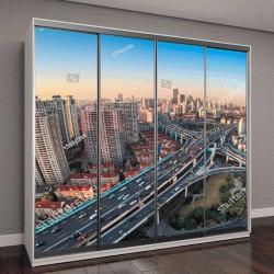 """Шкаф купе с фотопечатью """"современный город, виадук в сумерках в Шанхае """""""