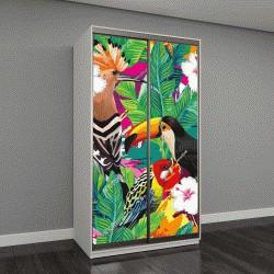 """Шкаф купе с фотопечатью """"композиция из тропических птиц: тукана, попугая, удода """""""