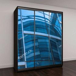 """Шкаф купе с фотопечатью """"голубые окна офисного здания"""""""