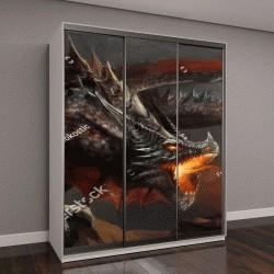 """Шкаф купе с фотопечатью """"фэнтези, сцены боевого дракона"""""""