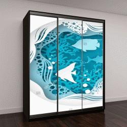 """Шкаф купе с фотопечатью """"подводные морские пещеры, дно в водорослях, пузыри и волны"""""""