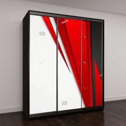 """Шкаф купе с фотопечатью """"красный черный серый на белом фоне"""""""