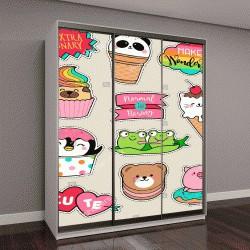 """Шкаф купе с фотопечатью """"мультяшные персонажи и еда"""""""