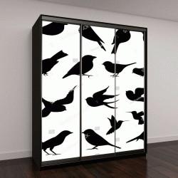 """Шкаф купе с фотопечатью """"Коллекция векторных силуэтов птиц """""""