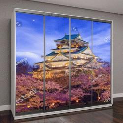"""Шкаф купе с фотопечатью """"замок и полное цветение сакуры в Японии"""""""