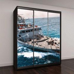 """Шкаф купе с фотопечатью """"корабли Военно-морского флота в море и видом на залив с вертолета"""""""