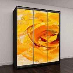 """Шкаф купе с фотопечатью """"картина маслом, Фантастический желтый цветок"""""""