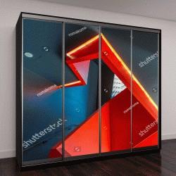 """Шкаф купе с фотопечатью """"Лестница окрашена в красный цвет"""""""