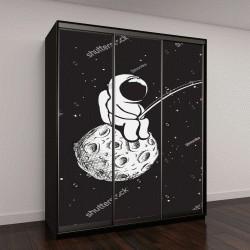 """Шкаф купе с фотопечатью """"Космонавт сидит на полной Луне и ловит звезды на удочку"""""""