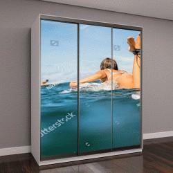 """Шкаф купе с фотопечатью """"женщина в бикини для серфинга """""""