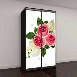"""Шкаф купе с фотопечатью """"Праздничная композиция с розовыми розами """""""