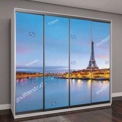 """Шкаф купе с фотопечатью """"Эйфелева башня и река Сена в сумерках в Париже, Франция"""""""